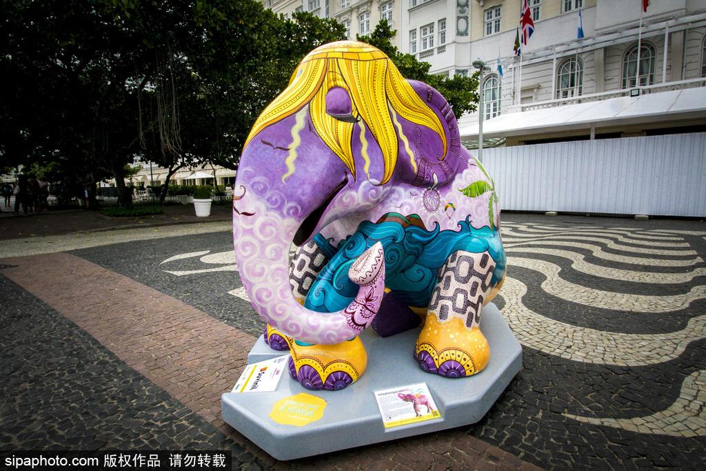 """城市变""""露天画廊""""!巴西里约热内卢街头大象雕塑""""穿新衣"""