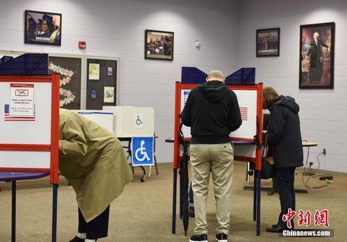 中国侨网资料图:当地时间11月6日,美国举行2018年中期选举。图为选民在弗吉尼亚州一处投票点投票。中新社记者 邓敏 摄