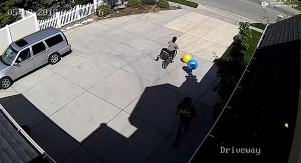 """美国两偷车贼骑车逃跑 一人意外""""翻车"""""""