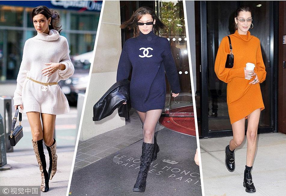贝拉·哈迪德越变越美 全靠一条高领毛衣裙!