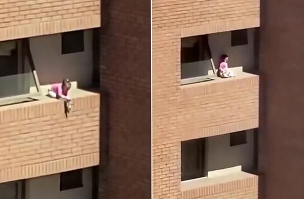惊心!智利小女孩在四楼无栏杆阳台上独自玩耍