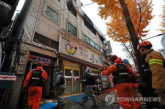 首尔一住宿楼发生火灾已致7人死亡,官员称伤亡人数或增加