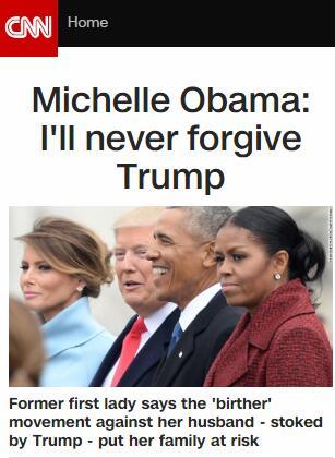 米歇尔·奥巴马:我永不原谅特朗普 特朗普:我也永不原谅你丈夫