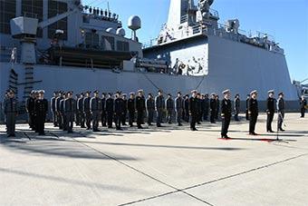 3艘韩国军舰抵达日本佐世保军港