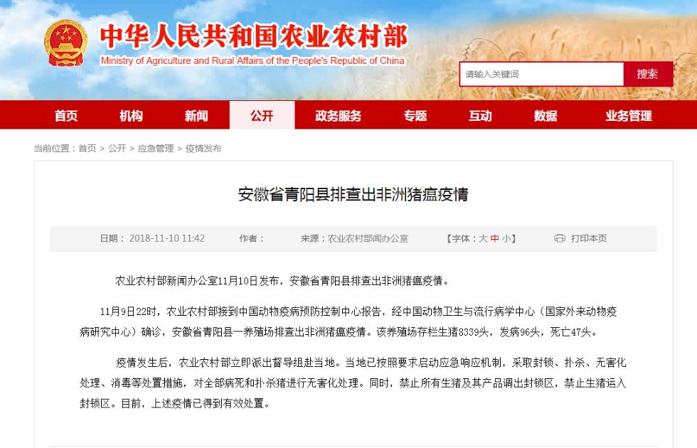 安徽省青阳县排查出非洲猪瘟疫情 生猪死亡47头