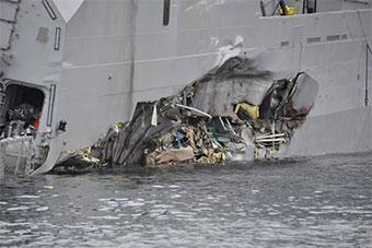 挪威被撞军舰现场图曝光展示撞击处细节