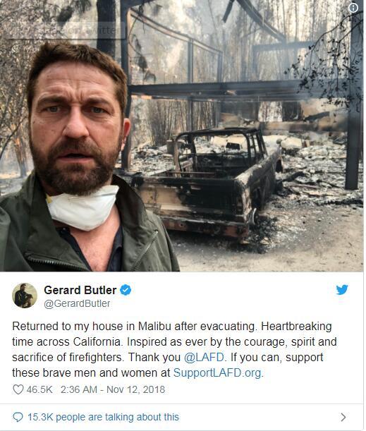加州最强山火持续肆虐:多位明星住宅被毁 有人指责气候变化