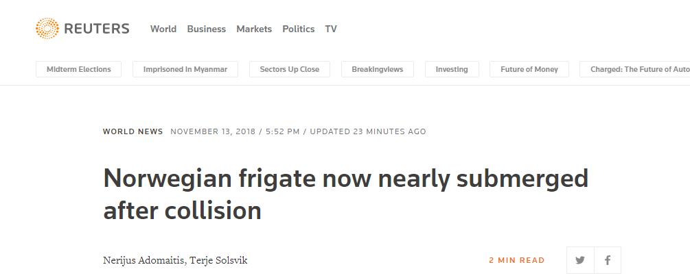 挪威护卫舰碰撞事故后继续下沉 几乎完全沉没
