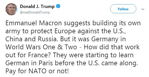 特朗普再发推怼马克龙:美国来之前,法国人正在巴黎学德语呢