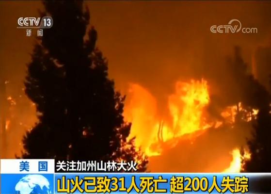 美国加州山林大火已致31人死亡 超200人失踪