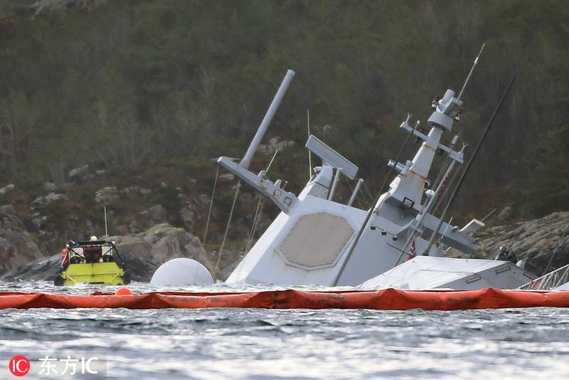 挪威护卫舰遭油轮碰撞后继续下沉 近乎完全沉没