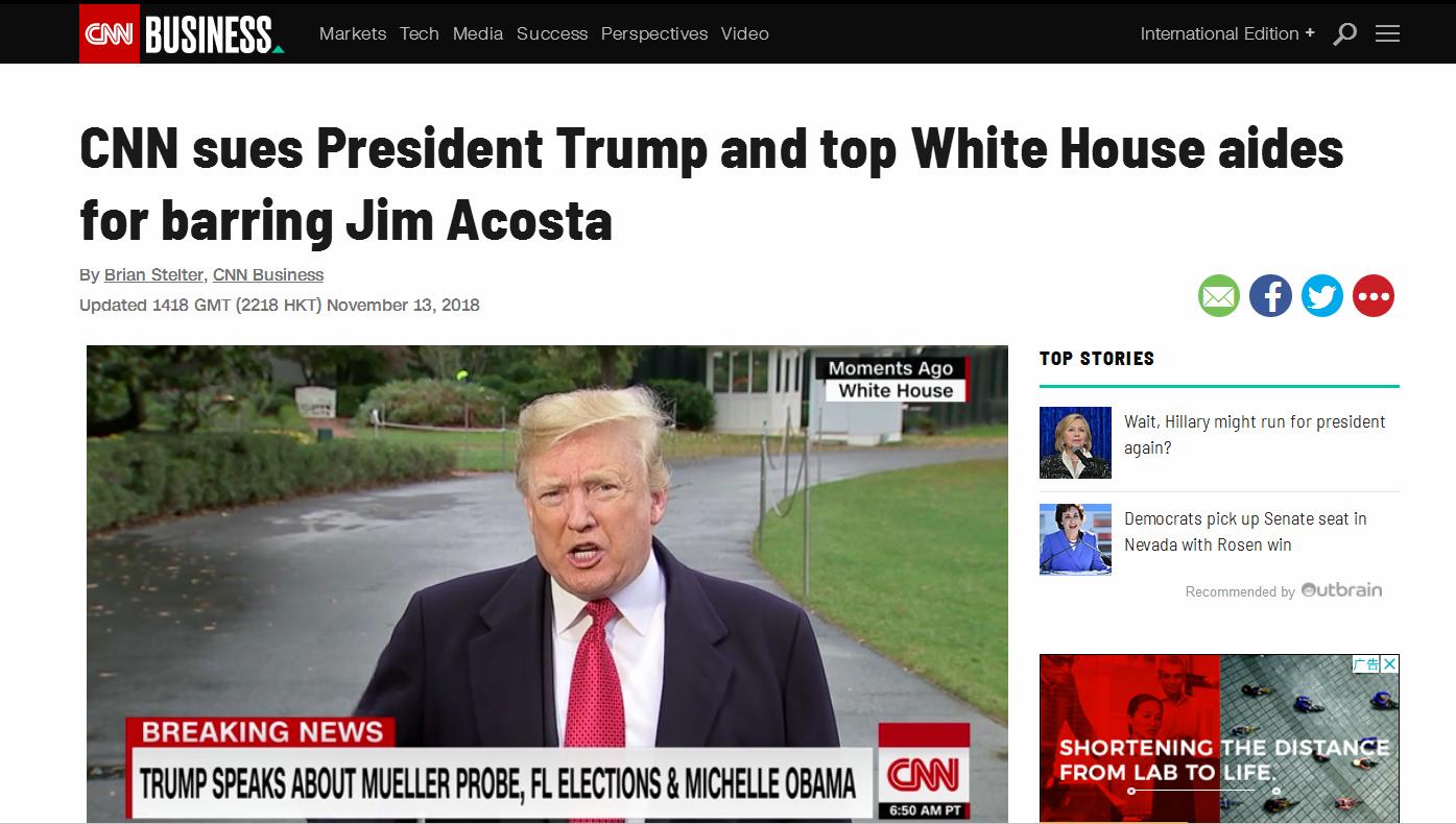 快讯!CNN把特朗普告了!