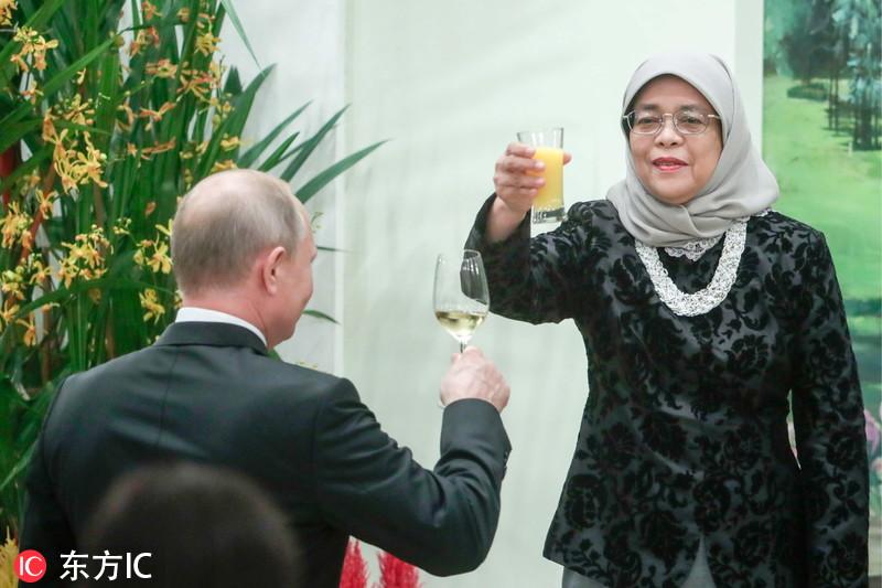 俄总统普京到访新加坡 在总统府出席晚宴