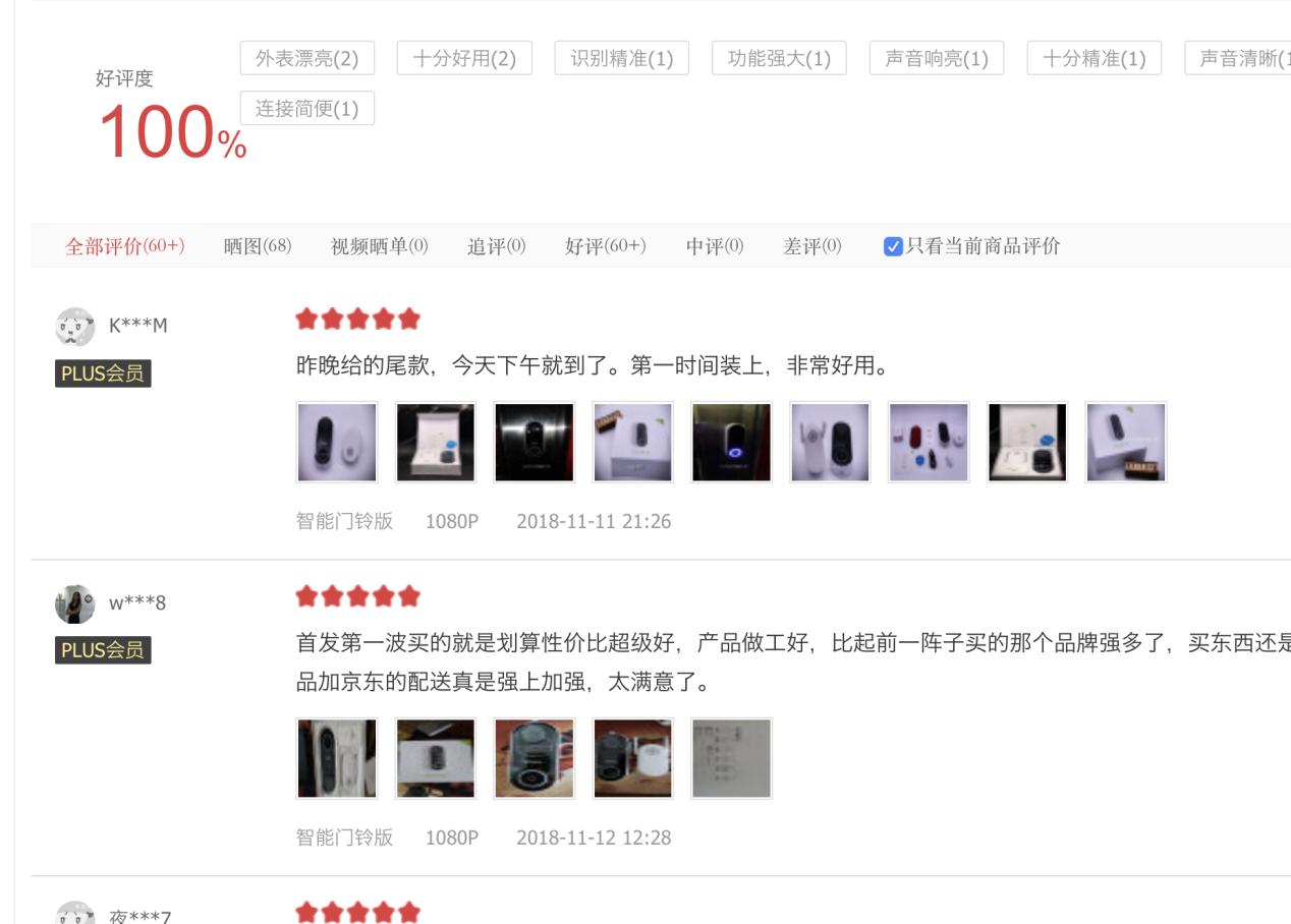360智能门铃上市 好评率100%创电商记录