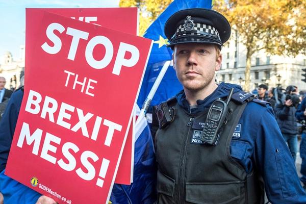 英国民众聚集唐宁街 抗议脱欧协议获内阁支持