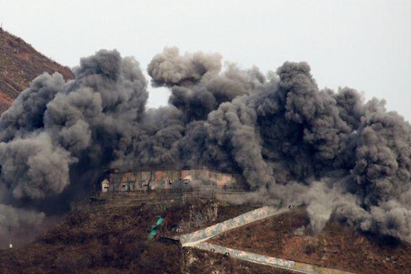 韩国爆破炸毁非军事区内哨所