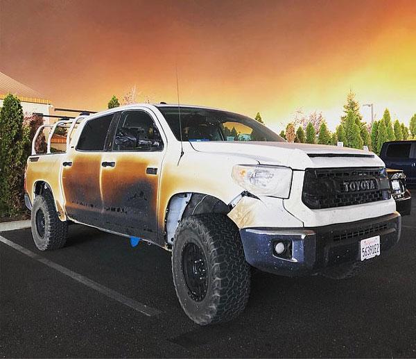 美护士加州大火中驱车救人 爱车被烧毁厂商将换新