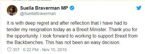 """第四位!英国 """"脱欧""""事务部次长辞职"""