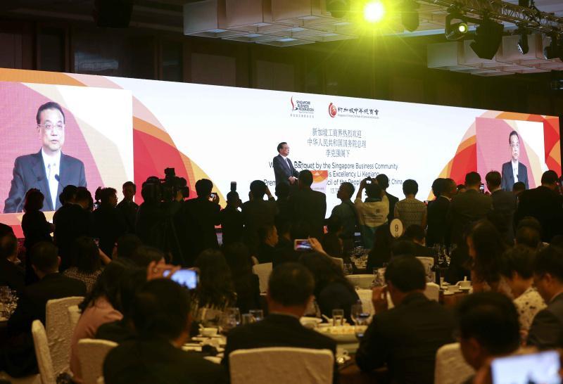 """应新加坡商界领袖请求:李克强千人晚宴致辞不用讲稿,用""""心""""讲话"""