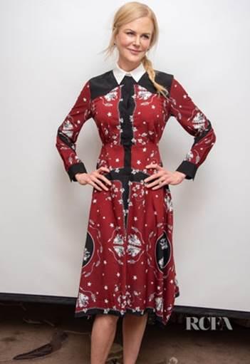 NICOLE KIDMAN(妮可·基德曼)身着Sandro印花连衣裙优雅现身