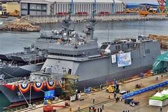 韩国海军首艘专用海军训练舰正式服役