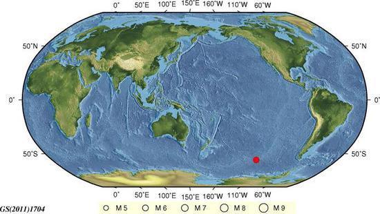 南太平洋发生6.2级地震 震源深度10千米