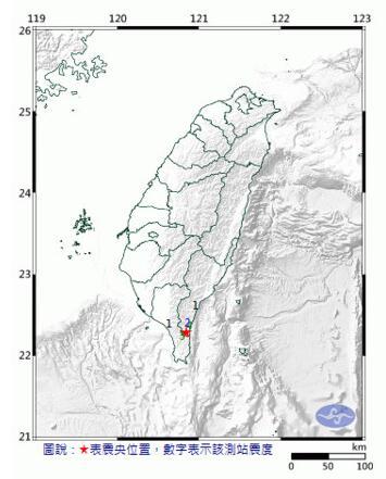 2天第3震!台东发生3.3级有感地震