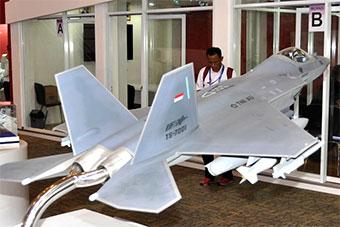 印尼防务展韩印尼合作五代机模型贴印尼国旗