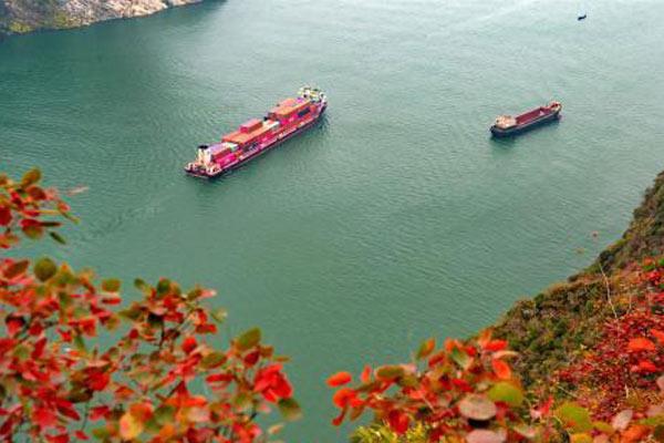 长江三峡秋色:一库碧水荡漾 两岸红叶漫山