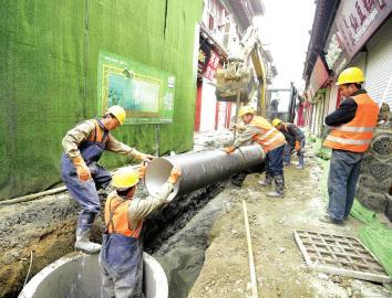芙蓉街铺设新排污管道