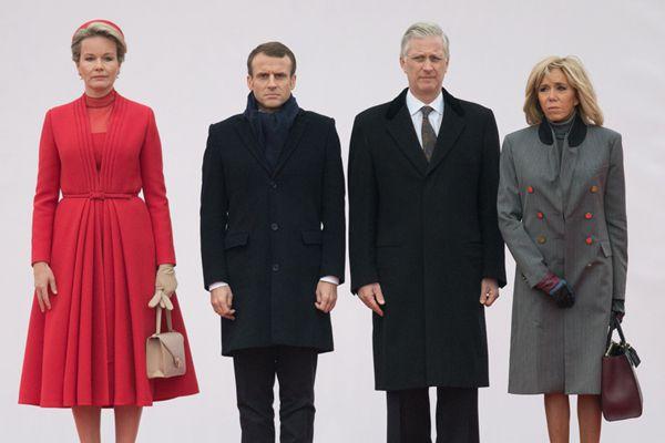 法国总统马克龙与第一夫人布丽吉特对比利时进行国事访问