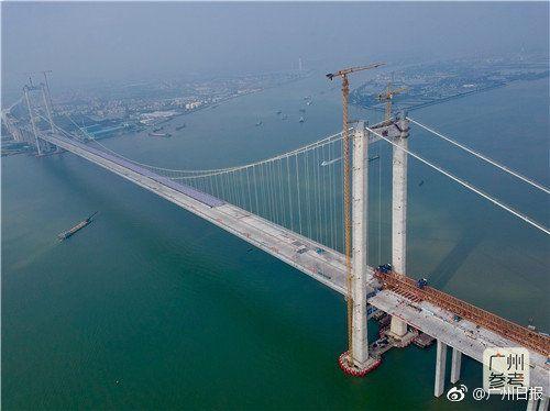 粤港澳大湾区重要过江通道虎门二桥主线贯通,明年5月通车