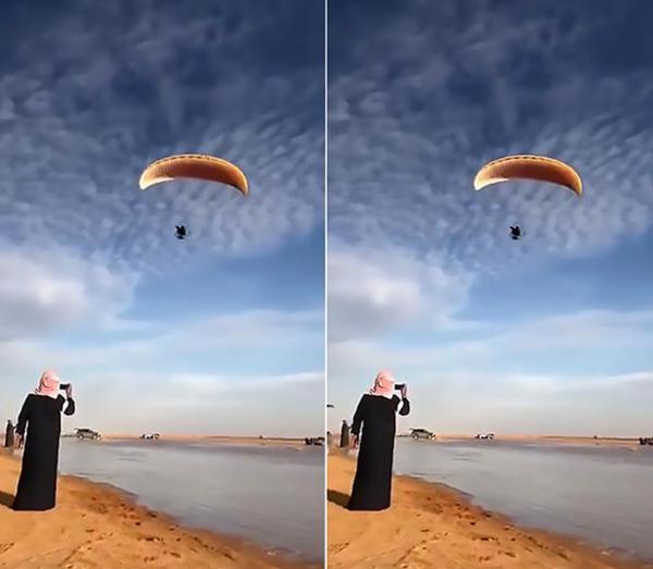 沙特男子玩滑翔伞失控撞人撞车 伤者被撞进车底