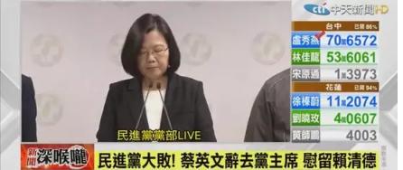 """蔡英文辞去党主席、民进党选举惨败!台湾""""九合一""""为何翻天?"""