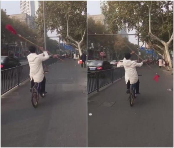 男子骑车舞红缨枪 警方:系赵云崇拜者 有精神疾病