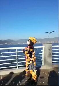 男子滇池边全身绑满面包喂海鸥 还把剩余的分游客