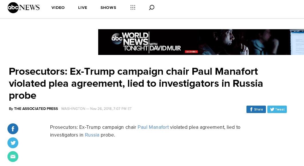 快讯!穆勒:特朗普前竞选经理马纳福特违反辩诉协议 对调查官员撒谎!