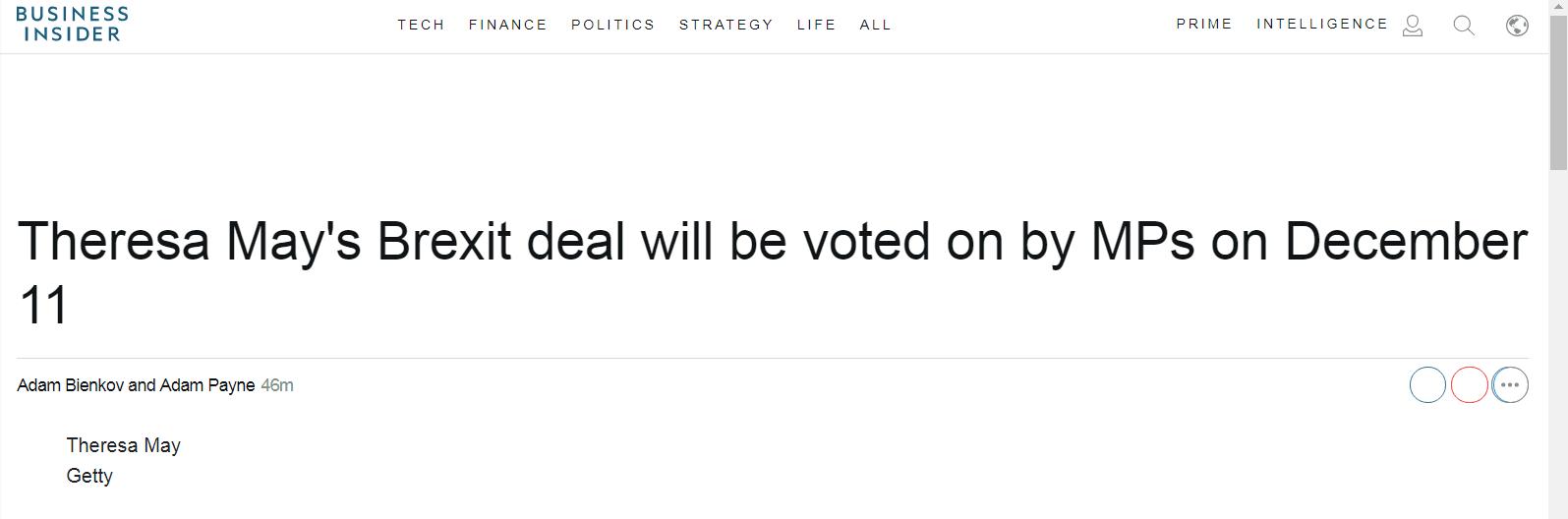 英国议会将就脱欧协议进行投票表决,但多数议员已明确表示不会支持该协议