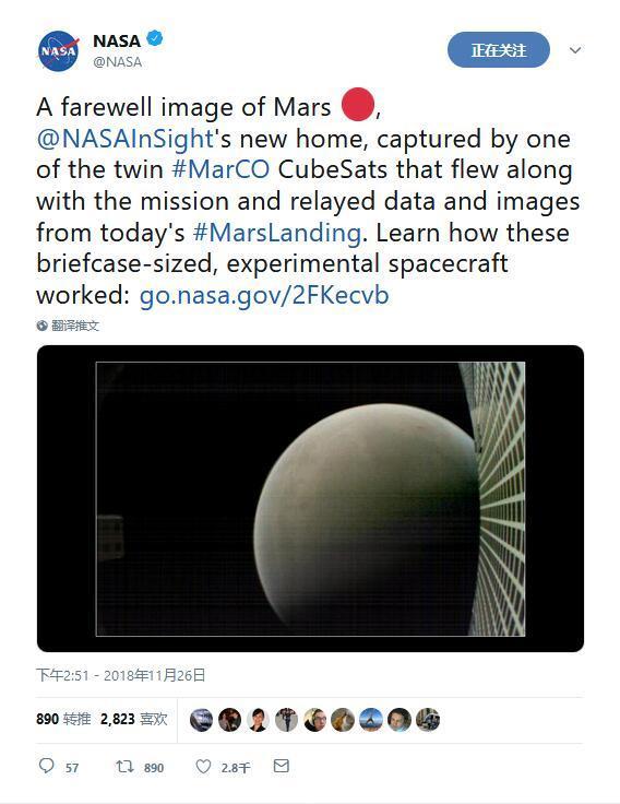 洞察号成功登陆后 NASA晒出MarCO B告别火星照片
