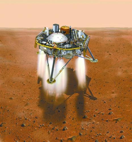 """图片说明:""""洞察""""号降落火星的模拟图。"""