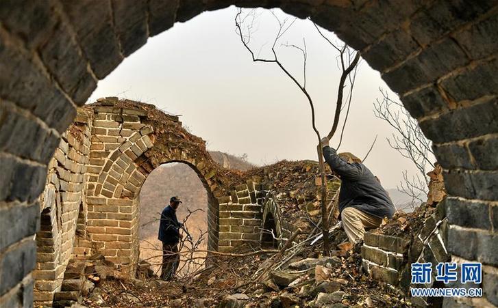 北京延庆:冬日养护古长城