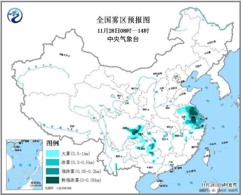 江苏上海等地有浓雾 东北地区北部仍有明显降温