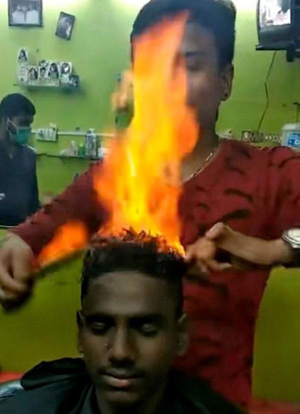 """全球最""""火""""发型!印理发师喷火剪发技术逆天"""