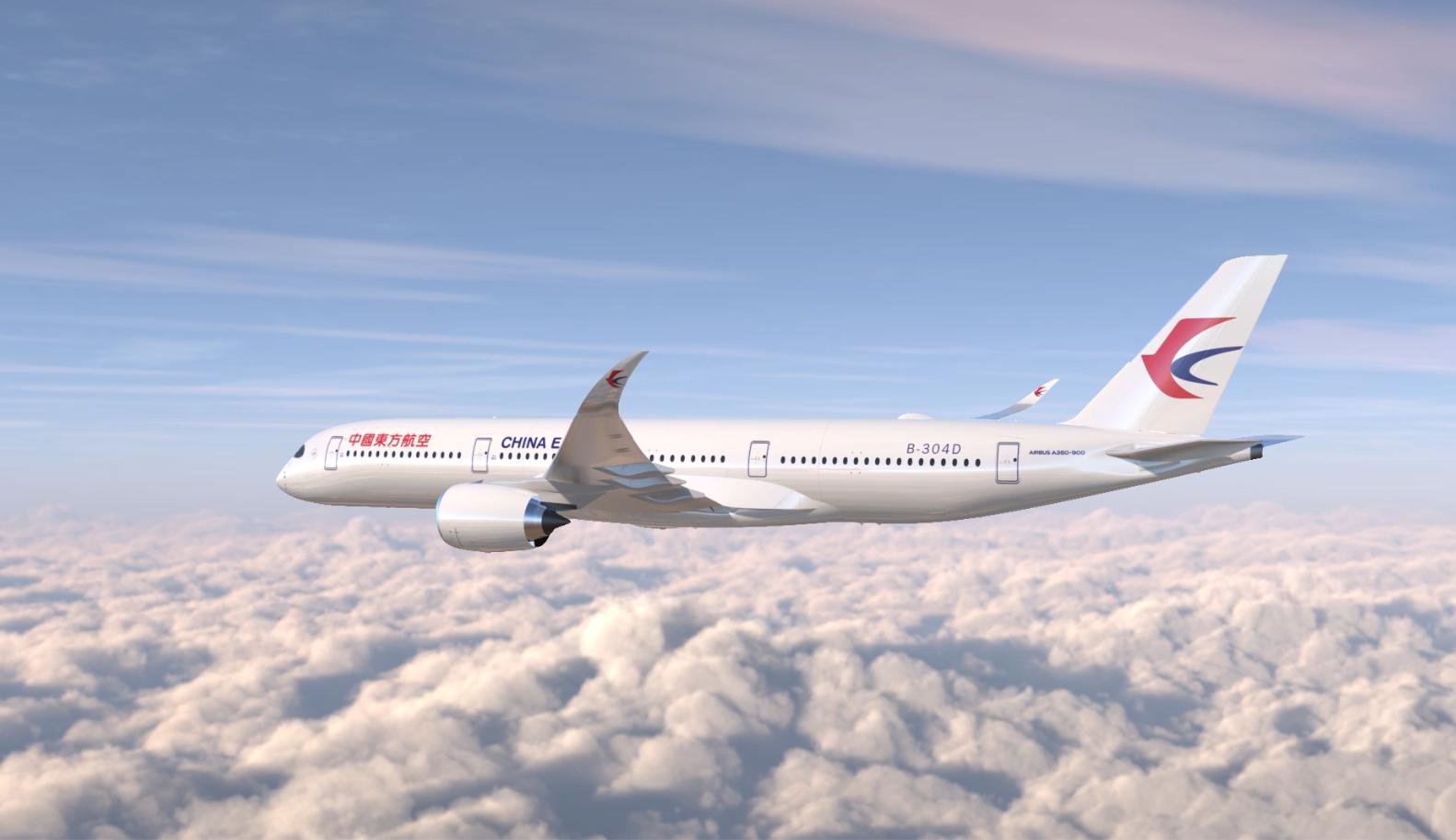 全球首发包厢式公务舱 东航空客A350-900飞抵上海虹桥机场