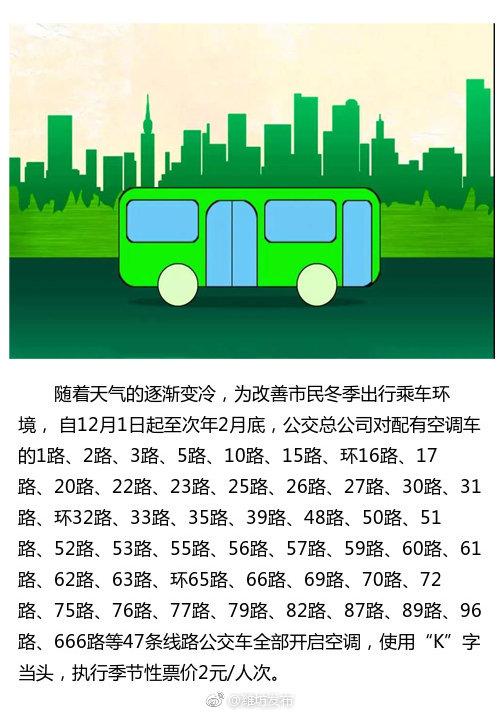 下月起,潍坊47条公交线路开启空调,票价执行2元/人次