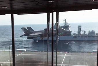 全球唯一装有落地窗的航母 看F-35起降视野太棒
