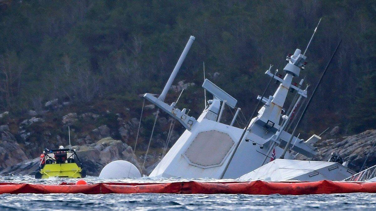 """挪威护卫舰沉船事故报告 船员错把油轮当""""静止的地面物体"""""""