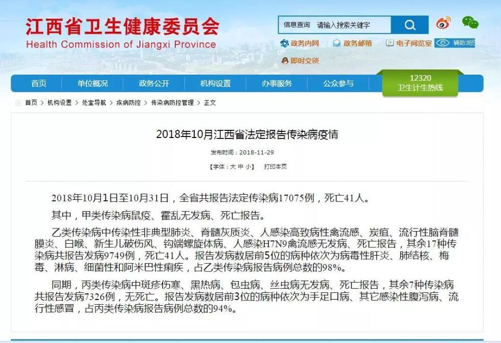 江西发布10月传染病疫情!41人死亡