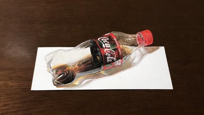 这真的是2D的画吗?15岁画师绘制写实版可乐瓶