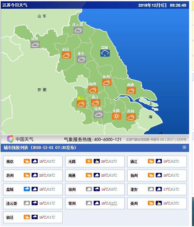 江苏省今日天气预报